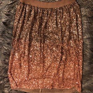 Ombré sequined mid length skirt